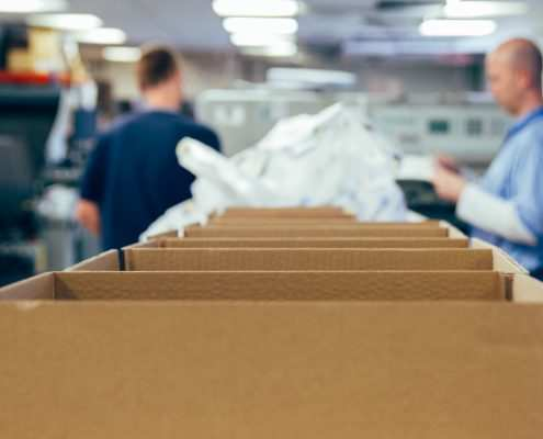 Inside the factory, packing
